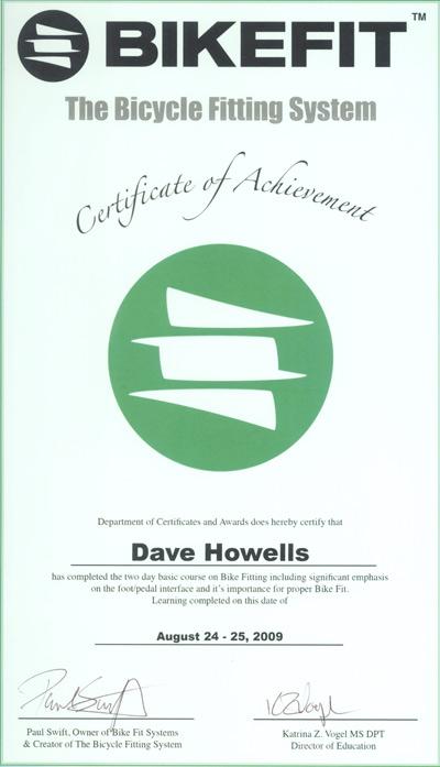bikefit Certificate Achievement